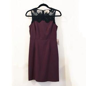 Forever 21 Burgundy Fitted Sheath Dress Lace Yoke